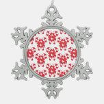 Ornamento rojo y blanco del copo de nieve de los b adornos