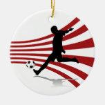 Ornamento rojo y blanco del jugador de fútbol ornato