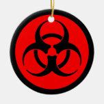 Ornamento rojo y negro del símbolo del Biohazard Ornato