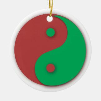 Ornamento rojo y verde de Yin y de Yang Adorno Navideño Redondo De Cerámica