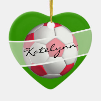 Ornamento rojo y verde del árbol de navidad del adorno navideño de cerámica en forma de corazón