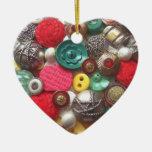 Ornamento rojo y verde del navidad de los botones ornamentos de reyes