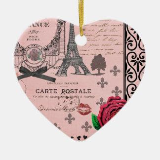Ornamento romántico del corazón del collage rosado adorno de navidad