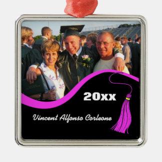 Ornamento rosado adaptable de la graduación de la adorno navideño cuadrado de metal