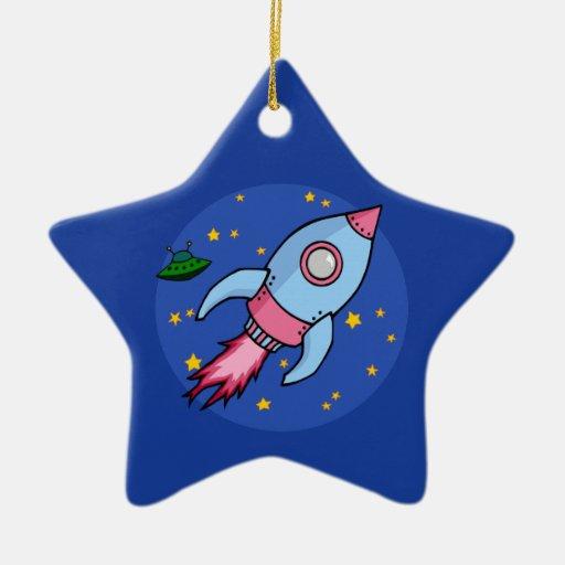 Ornamento rosado azul de Rocket Adorno Para Reyes