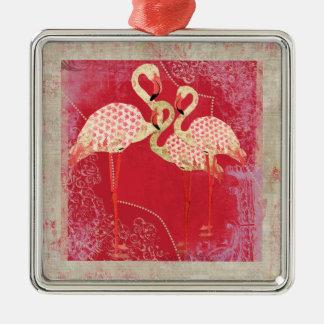 Ornamento rosado bonito de los flamencos adorno navideño cuadrado de metal