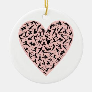 Ornamento rosado bonito del corazón de la danza c adorno de navidad
