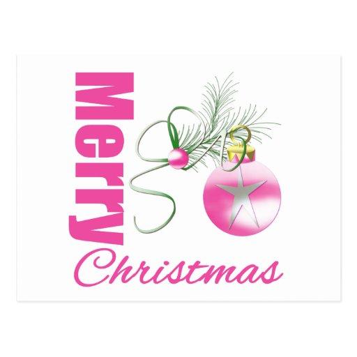 Ornamento rosado caprichoso de las Felices Navidad Postal