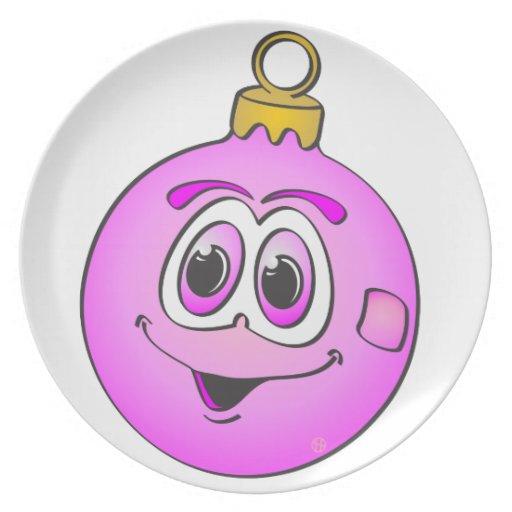 Ornamento rosado Cartoon.png del navidad Platos