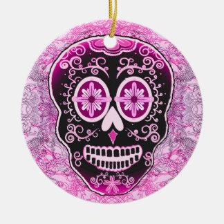 Ornamento rosado de Calavera Adorno Navideño Redondo De Cerámica