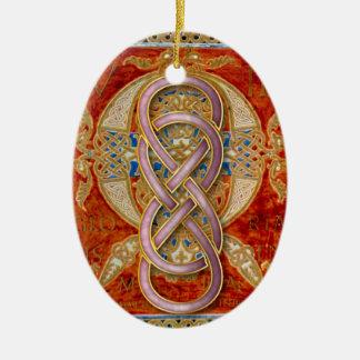 Ornamento rosado de Cloisonne del infinito doble