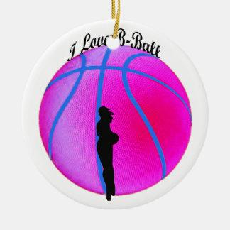 Ornamento rosado de la diva del B-Ball de Adorno Navideño Redondo De Cerámica