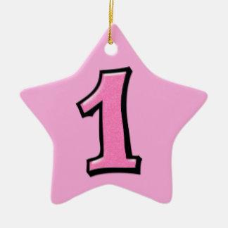 Ornamento rosado de la estrella del número 1 tonto adorno navideño de cerámica en forma de estrella