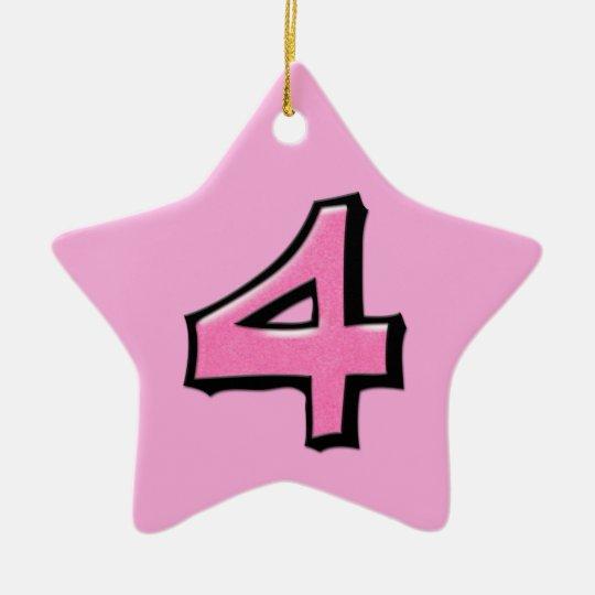 Ornamento rosado de la estrella del número 4 adorno navideño de cerámica en forma de estrella