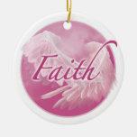 Ornamento rosado de la fe adornos de navidad