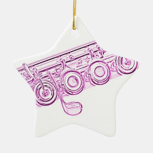Ornamento rosado de la flauta adorno navideño de cerámica en forma de estrella