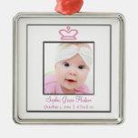 Ornamento rosado de la foto de la niña de princesa ornatos