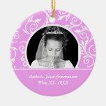 Ornamento rosado de la foto de la primera comunión ornamentos para reyes magos