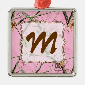 Ornamento rosado de la inicial del monograma del adorno navideño cuadrado de metal