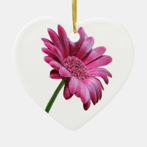 Ornamento rosado de la margarita del Gerbera Adorno De Cerámica En Forma De Corazón