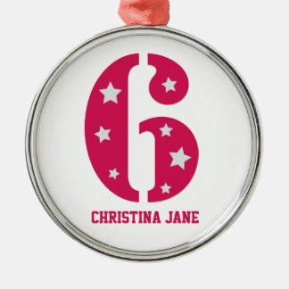 Ornamento rosado de la superestrella 6 (ronda supe ornatos
