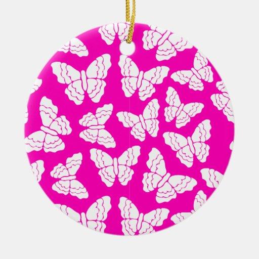 Ornamento rosado de las mariposas ornamento de reyes magos