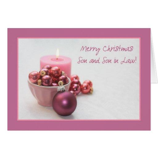 Ornamento rosado de los felices christsmas del tarjeta de felicitación