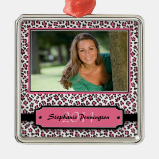 Ornamento rosado de moda de la foto de la adorno cuadrado plateado