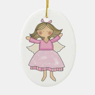 Ornamento rosado del ángel adorno navideño ovalado de cerámica