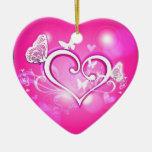 Ornamento rosado del ciervo de la mariposa de Valu Ornamento De Reyes Magos