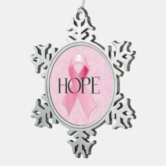 Ornamento rosado del copo de nieve de la cinta de adorno de peltre en forma de copo de nieve