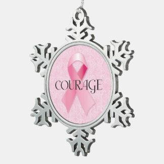 Ornamento rosado del copo de nieve de la cinta del adorno de peltre en forma de copo de nieve