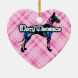 Ornamento rosado del corazón de la tela escocesa d ornamento de reyes magos