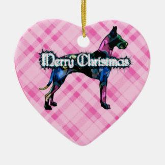 Ornamento rosado del corazón de la tela escocesa ornamento de reyes magos