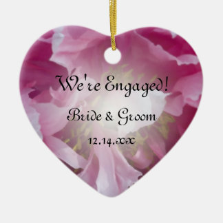 Ornamento rosado del corazón del compromiso del adorno de cerámica en forma de corazón