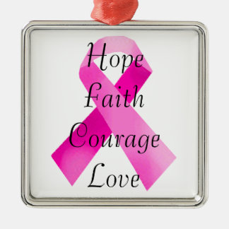 Ornamento rosado del cuadrado de la fe de la cinta adorno navideño cuadrado de metal