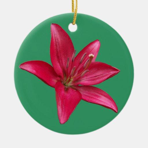 Ornamento rosado del flor del lirio adorno redondo de cerámica