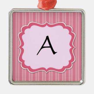 Ornamento rosado del monograma de la madreselva adorno navideño cuadrado de metal