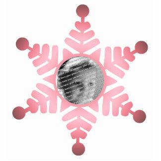 Ornamento rosado del navidad de la foto del copo d fotoescultura vertical