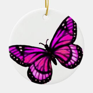Ornamento rosado del navidad de la mariposa adorno navideño redondo de cerámica