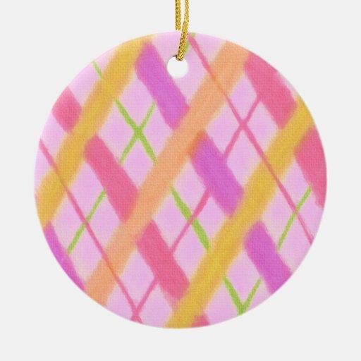 Ornamento rosado del navidad de la tela escocesa d
