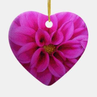 Ornamento rosado del navidad de las dalias adorno navideño de cerámica en forma de corazón