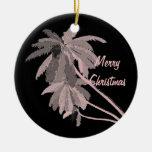 Ornamento rosado del navidad de las palmas adornos