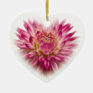 Ornamento rosado del navidad del corazón de la adorno navideño de cerámica en forma de corazón