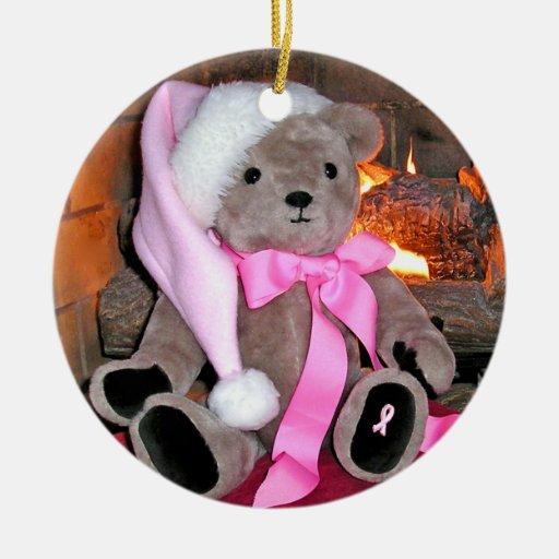 Ornamento rosado del navidad del oso de peluche de adorno redondo de cerámica