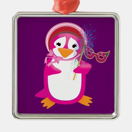 Ornamento rosado del pingüino del carnaval adorno cuadrado plateado