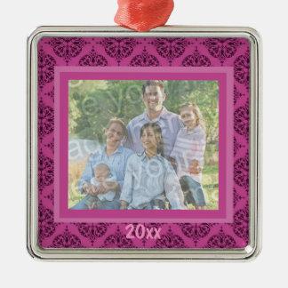 Ornamento rosado del recuerdo del damasco adorno navideño cuadrado de metal