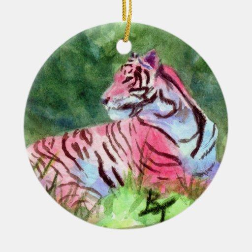 Ornamento rosado del tigre ornamento de navidad