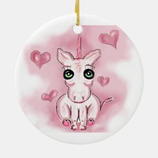 Ornamento rosado del unicornio ornato