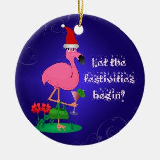 Ornamento rosado divertido del navidad del adorno navideño redondo de cerámica